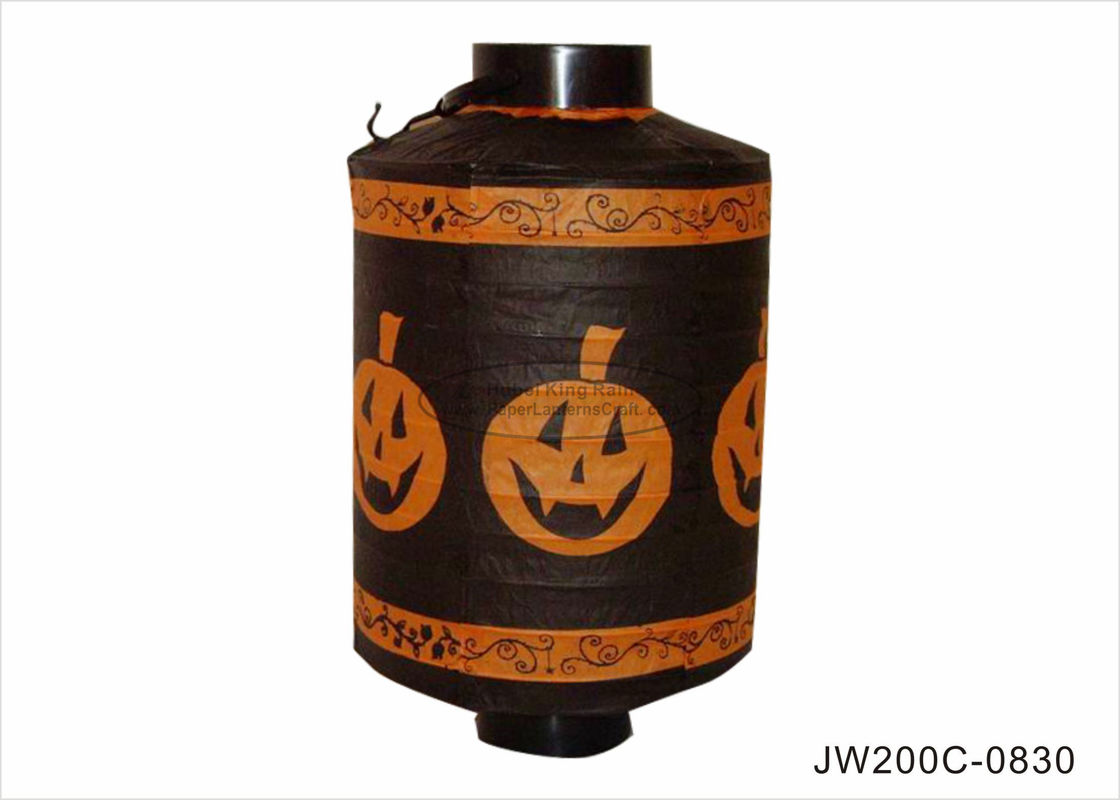 Battery Operated Paper Halloween Decorations Black 20cm With Pumpkin Pattern
