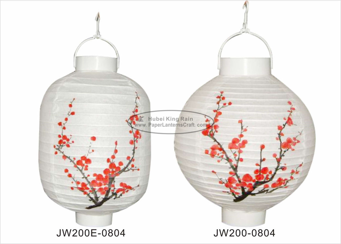 Garden White Column Led Paper Lantern Lights With Plum Blossom Printed