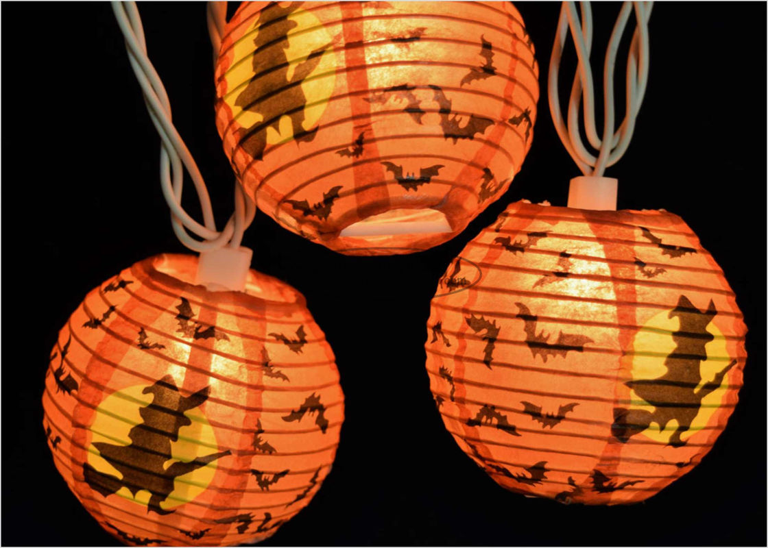 Eco - Friendly Witch Ghost  Indoor Paper Lantern String Lights Round Shape , CE Approved
