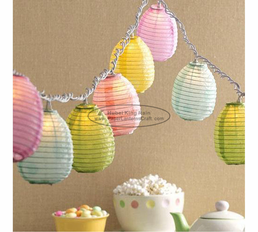 Blue green yellow egg shape Paper Lantern String Lights easter baby shower decoration
